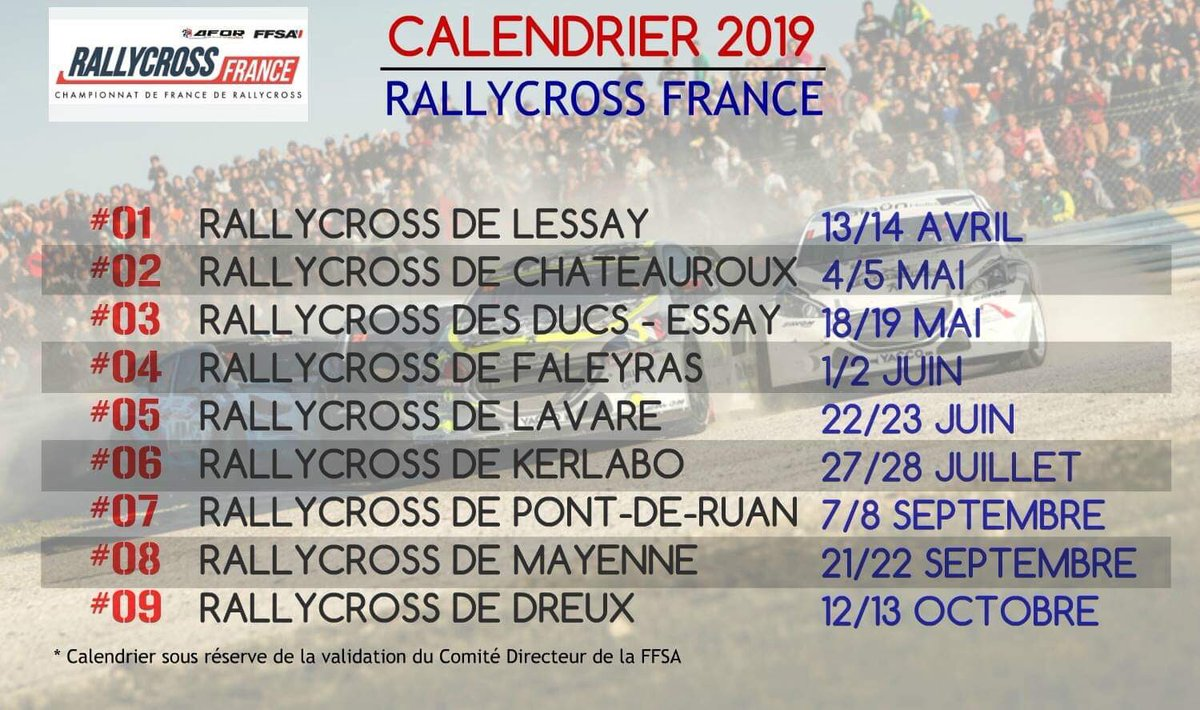 calendrier rallycross 2019 france. Black Bedroom Furniture Sets. Home Design Ideas
