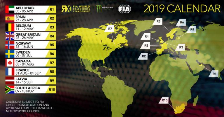 Calendrier championnat du monde de rallycross FIA 2019